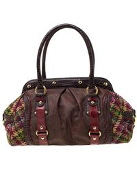 Etro Multicolor Paisley Coated Canvas,croc Embossed Leather And Fabric Frame Satchel - Brown