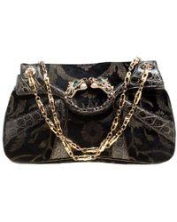 1cd50651d527 Gucci - Black Printed Velvet And Alligator Trim Limited Edition Tom Ford  Dragon Shoulder Bag -
