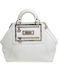 Versace - White Croc Embossed Leather Hit Satchel - Lyst