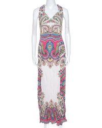Etro Multicolour Paisley Print Crepe Maxi Dress L