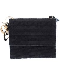 Dior Black Cannage Fabric Lady French Wallet