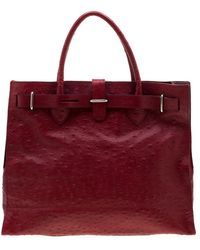 Furla Red Ostrich Embossed Leather
