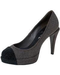 Chanel Grey/black Glitter Suede Cc Cap Toe Platform Court Shoes