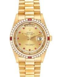 Rolex Champagne Diamonds And Ruby 18k Yellow Gold President Day-date 18238 Wristwatch 36 Mm - Metallic