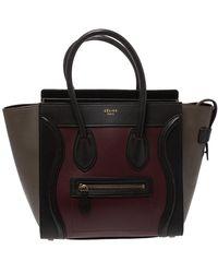 Celine Tri Color Leather Micro Luggage Tote - Black
