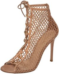 Gianvito Rossi Beige Mesh And Leather Helena Lace Up Crochet Booties - Natural