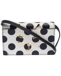 Charlotte Olympia Black/white Polka Dot Leather Feline Crossbody Bag