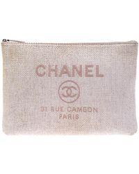 Chanel Pale Pink Raffia Large Deauville Clutch