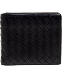 Bottega Veneta Black Intrecciato Leather Bifold Wallet