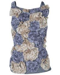 Dries Van Noten Floral Applique Textured Sleeveless Backless Top S - Blue