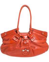 Ferragamo Orange Leather Gancini Lucchetto Hobo