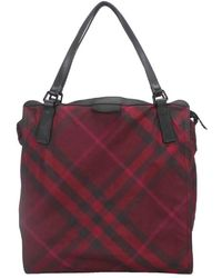 Burberry Red Plaid Nylon Buckleigh Tote Bag