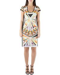 Just Cavalli Multicolor Aztec Print Stretch Knit Scoop Neck Bodycon Dress