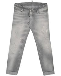 DSquared² Grey Faded Effect Splattered Distressed Cuffed Jeans