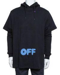 Off-White c/o Virgil Abloh Black Blurred Off Print Cotton T-shirt Detail Hoodie