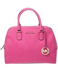 Michael Kors Michael Fuchsia Leather Cindy Dome Satchel - Pink