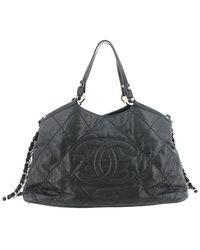 Chanel Black Leather Sea Hit Satchel Bag