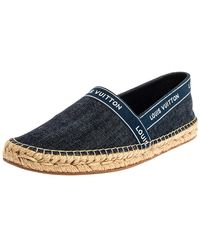Louis Vuitton Blue Denim Espadrille Slip On Sneakers