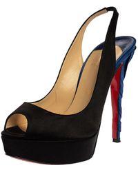 Christian Louboutin Black/blue Satin Prive Peep Toe Slingback Sandals