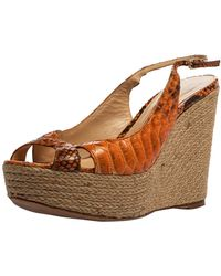 Alexandre Birman - Orange Python Leather Wedge Slingback Sandals - Lyst