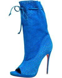Christian Louboutin Light Blue Perforated Suede Jennifer Wrap Boots