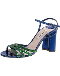 Miu Miu Green/blue Glitter Strappy Block Heels Sandals