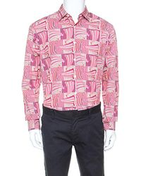 Ferragamo - Pink Sailboat Printed Cotton Long Sleeve Shirt Xl - Lyst