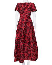 Carolina Herrera Ch Red & Black Floral Crinkled Brocade Flared Maxi Dress
