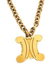 Celine Vintage Gold Tone Logo Pendant Blazon Necklace - Metallic