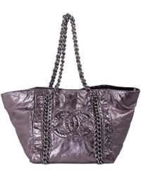 67158fa6a19e Chanel Authentic Black Distressed Leather Modern Chain Tote Bag ...