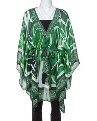 Roberto Cavalli Green Paisley Print Silk Belted Kaftan Top