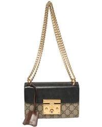 Gucci Black/beige GG Supreme Canvas And Leather Small Padlock Shoulder Bag
