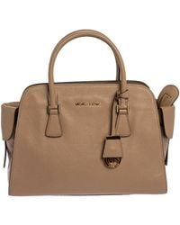 MICHAEL Michael Kors Beige Leather Gia Satchel - Natural
