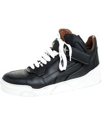 Givenchy Black Leather Tyson Star Studded High Top Trainers