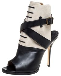 Paul Andrew Black Leather And Suede Criss Cross Open Toe Ankle Strap Booties