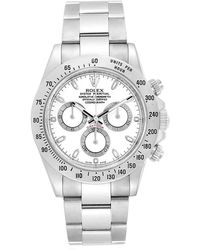 Rolex White Stainless Steel Cosmograph Daytona 116520 Men's Wristwatch 40mm