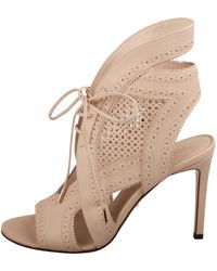 Roberto Cavalli Beige Perforated Leather Open Toe Lace Up Ankle Booties Size 38.5 - Natural