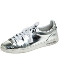 Louis Vuitton Metallic Silver Leather Frontrow Low Top Sneakers