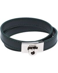 Ferragamo Moss Green Leather Gancini Double Wrap Bracelet