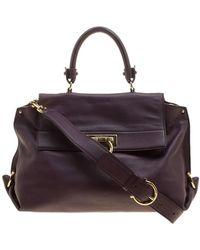 Ferragamo Purple Leather Medium Sofia Satchel