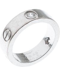 Cartier Love 3 Diamonds 18k White Gold Band Ring Size 49 - Metallic