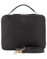 Anya Hindmarch Black Leather The Stack Double Satchel