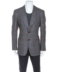 Tom Ford Grey Checked Wool Silk Blend Blazer