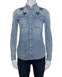 Givenchy Blue Star Printed Washed Denim Button Front Shirt S