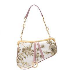 Dior Gold/pink Embroidered Satin Limited Edition 0226 Mini Saddle Bag - Metallic