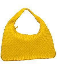 Bottega Veneta Yellow Intrecciato Leather Maxi Veneta Hobo Bag