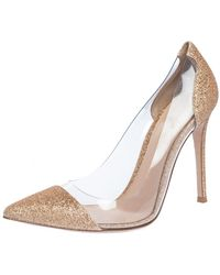 Gianvito Rossi Gold Glitters And Pvc Plexi Pointed Toe Court Shoes - Metallic