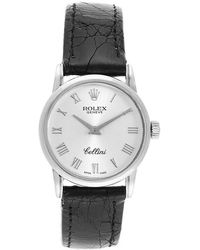 Rolex Silver 18k White Gold Cellini Classic 6111 Women's Wristwatch 26mm