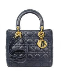 Dior Navy Blue Cannage Quilted Leather Medium Lady Tote