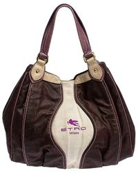Etro Brown Paisley Printed Coated Canvas Hobo